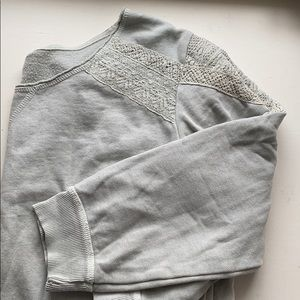 Gray sweatshirt with lace detail